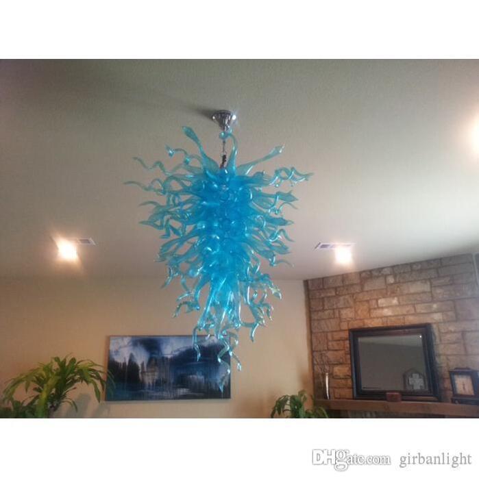 Pretty Blue Blown Glass LED Chandelier Light CE UL Certificate Murano Style Borosilicate Glass Hotel Decor Pendant Lamps