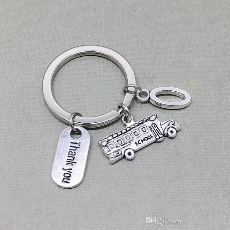Ancient Silver school bus School Bus Driver Gift Thanksgiving Thank you 12 letters O-Z Pendant key chain Men Women Holiday Gift Keychain