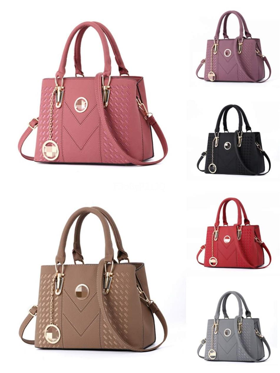 Designer Leather Handbags Genuine Cow Leather Popular Metal Rivets Decorative Fashion Bags Fast Free Shipping#981