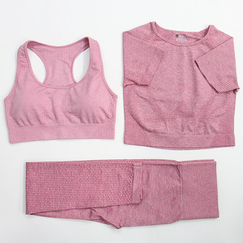 3шт Женщины Бесшовная Йога Set Sports Bra короткий рукав рубашки поножи тренировки Спортивная Gym Фитнес Run Йога Crop Лучшие костюмы