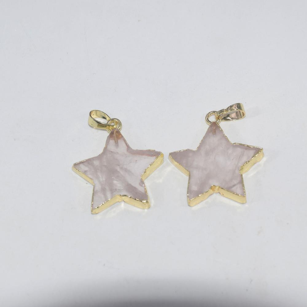 Free Shipping Fashion Jewelry Natural Pink rose crystal quartz charm pendant girl gem stone star necklace pendant for women gift