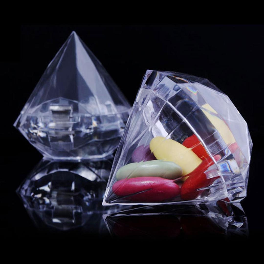 Düğün Ev Temizle Elmas Şekli Şeffaf Plastik Favor Düğün Dekorasyon Şeker Kutusu Temizle Plastik Konteyner