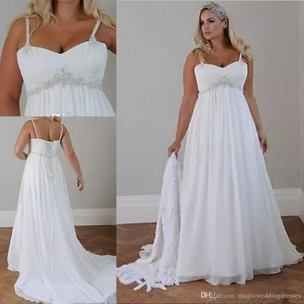 Crystals Plus Size Beach Wedding Dresses 2018 Corset Back Spaghetti Straps Chiffon Floor Length Empire Waist Elegant Bridal Gowns Sleeveless