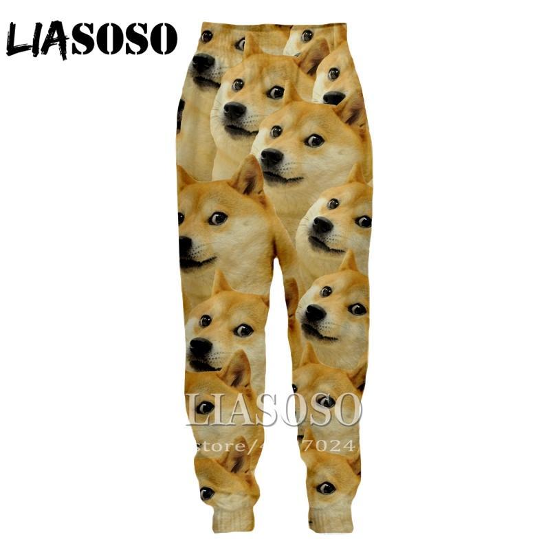LIASOSO 3d Baskı Erkek Kadın karikatür tam boy Sweatpants hayvan doge kış Pantolon anime sevimli rahat komik 2019 pantolon E233
