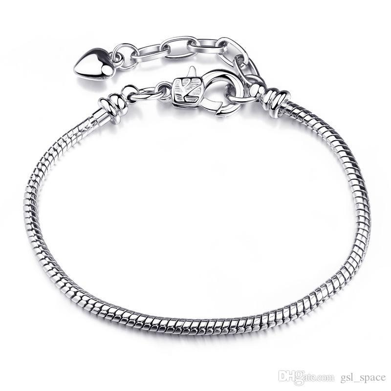 Ücretsiz Kargo Toptan gümüş bilezik, 925 moda gümüş kaplama takı 3mm Yılan Kemik Bilezik Takı Aksesuarları