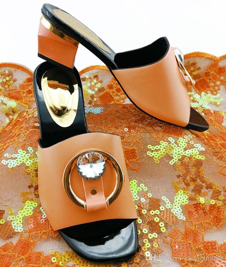 venda pêssego quentes das mulheres calçam com grande cristal decoração senhoras sandálias africanas para vestir QS1908, 5.5CM calcanhar