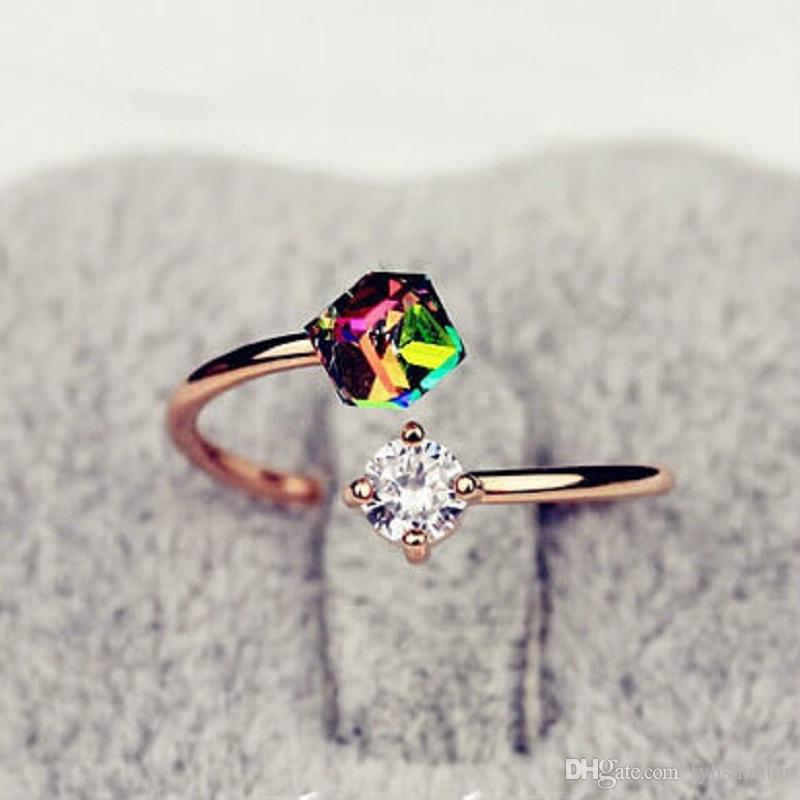 Новая мода ювелирные изделия роскошный дизайн розовое золото Цвет лук Циркон Кольца для женщин R7