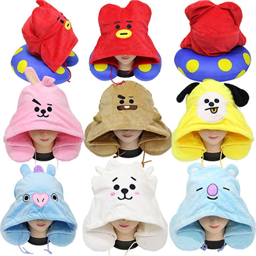 사랑스러운 귀여운 화려한 수 놓은 베개 DH0725를 가진 7 개의 색깔 만화 인형 봉제 동물성 모자 Cushion U 모양을 한 열 목 베개