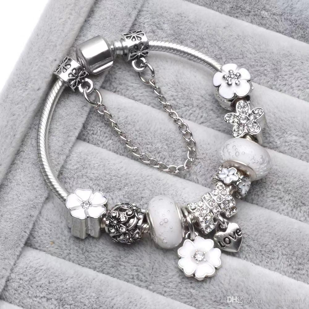Белый розовый синий ColorChark Beads Fit Ювелирные изделия 925 серебряные браслеты снежинки кулон Bangle Charms DIY Jewelr