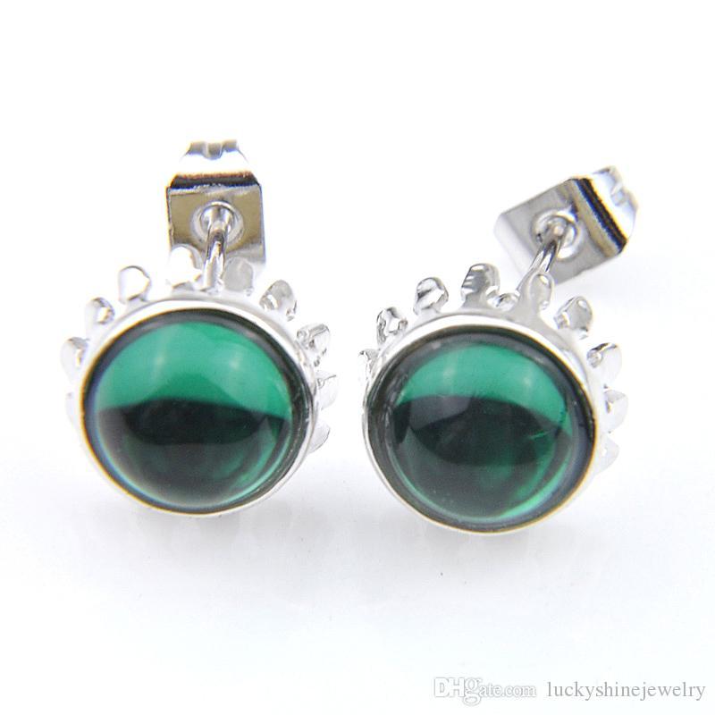 Plata Luckyshine 10 Par del corte redondo vendimia verde cuarzo gemas 925 para el regalo de las mujeres Pendientes de Navidad elegante ceñido e0247