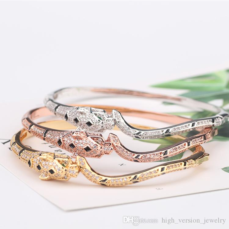 Women Rose Gold Leopard Bangle Woman Diamond Slim Bangles Charms Wedding Engagement Jewelry on Sale