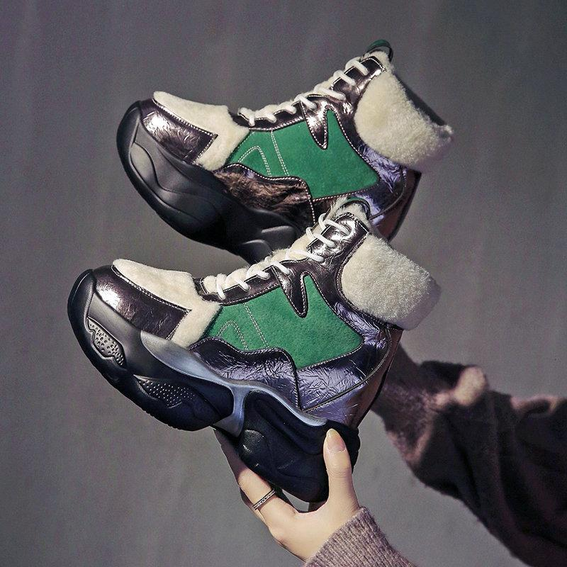 Caliente las mujeres botas de invierno botas de nieve tobillo de las mujeres para la plataforma Mujer Cuñas increaseing Mujer felpa Zapatos A63-87