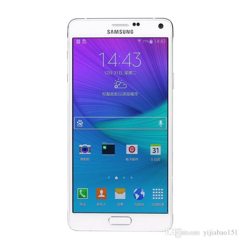 Восстановленное в исходном Samsung Galaxy Note 4 N910F N910A N910V N910T N910P 5,7-дюймовый четырехъядерный процессор 3 ГБ RAM 32 ГБ ROM 16MP LTE 4G телефон DHL 10 шт
