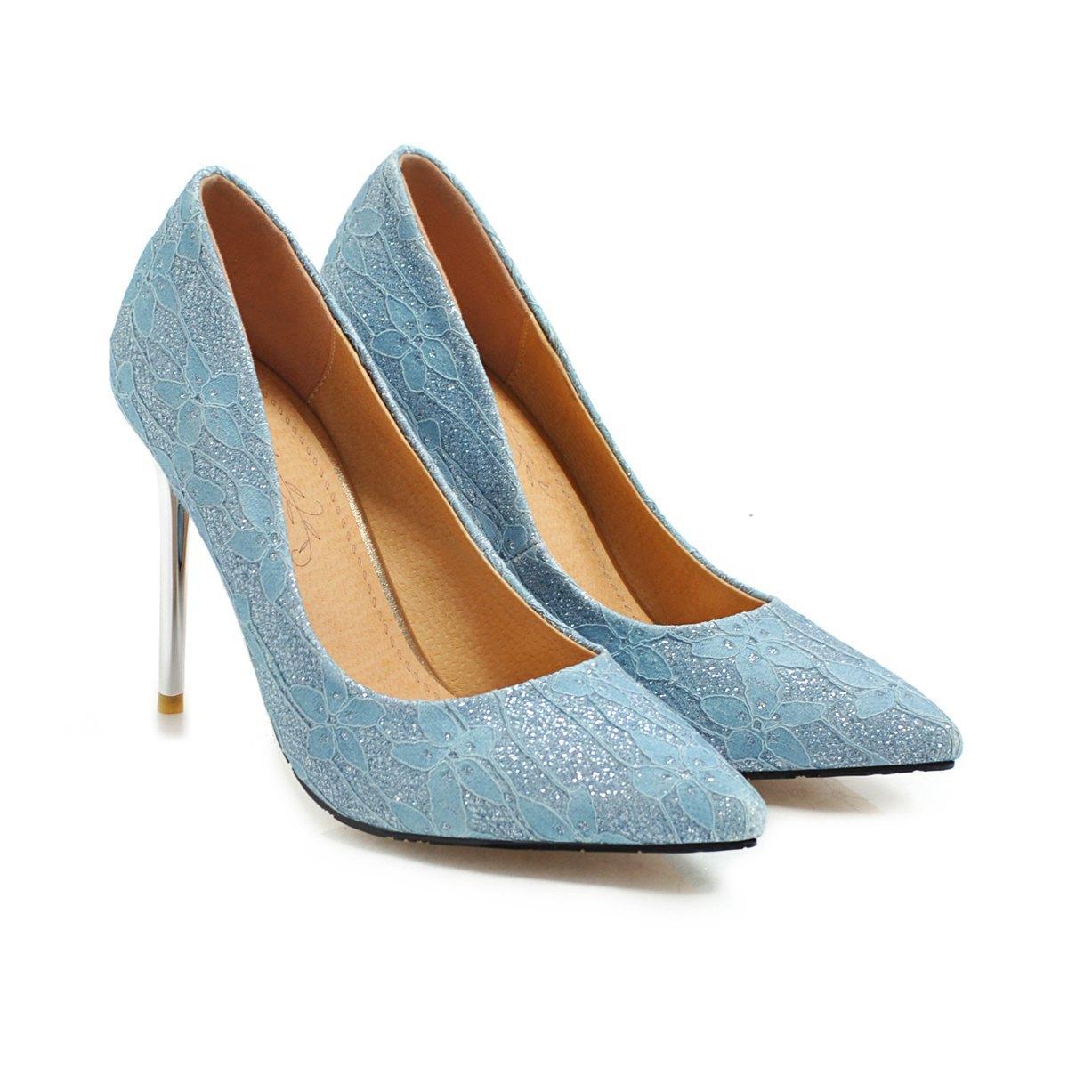 Gros Sexy Stiletto Heel Sequins Tissu Toe Pointu Femmes Pompes 100mm Mode Talons Hauts Chaussures pour Femmes Bureau Habillées Chaussures De Grande Taille