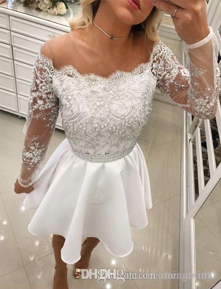Белый Homecoming платья с длинным рукавом аппликация кружева выпускные платья Jewel шеи жемчуг баски короткие платья выпускного вечера для платья