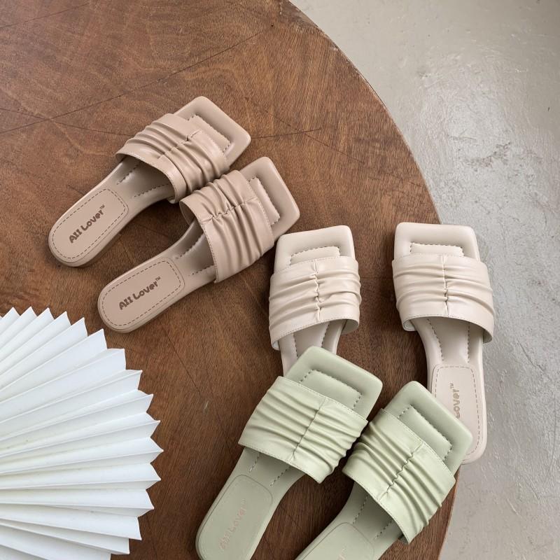 2020 yaz Terlik Slaytlar Kadınlar Yaz Sandalet On Açık Terlik Şık Pileli Ayakkabı Kadınlar Terlik Mujer Kayma