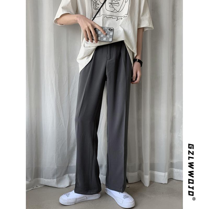2020 Yaz Modası Kore Stili Vahşi Orta Bel Geniş Bacak Pantolon 2 Renkler Erkekler Rasgele Gevşek Uzun Pantolon Düz pantolonları S-XXXL T04