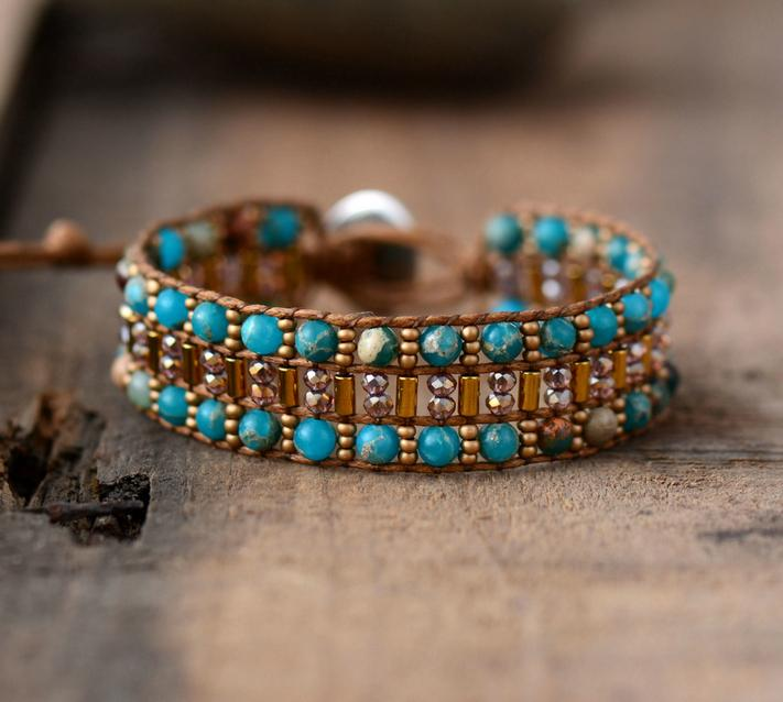 High End Women Boho Bracelet Natural Stone Seed Beads Wrap Bracelets Semi Precious Stone Beaded Cuff Bracelet Dropshipping