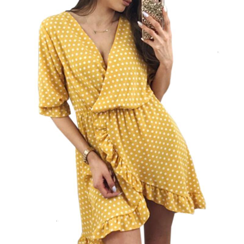Womens Dresses Woman Clothes Dot Summer Women Dress Boho Sundress Sexy Ruffles Half Sleeve Dresses Irregular Dress Designer Clothes