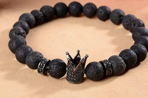 8 milímetros iyi4 cobre prata ouro Crown micro pavimentar cz zircão cúbicos zircônia Pulseira preta vulcânica pedra lava Bangles Buddha Yoga