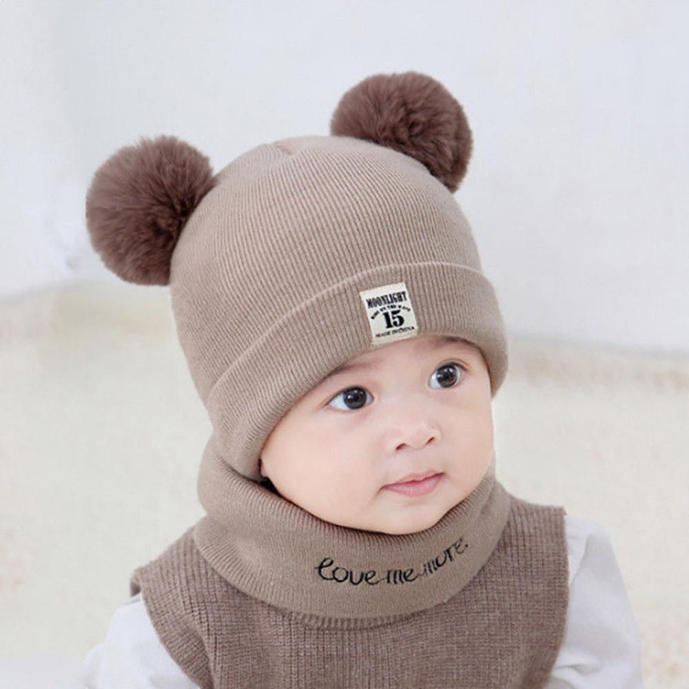 MUQGEW newborn hat wrap Kids Baby Boy Girl hat Scarf Set pom pom baby boy girls Winter Warm Knit Crochet Beanie Cap JY8