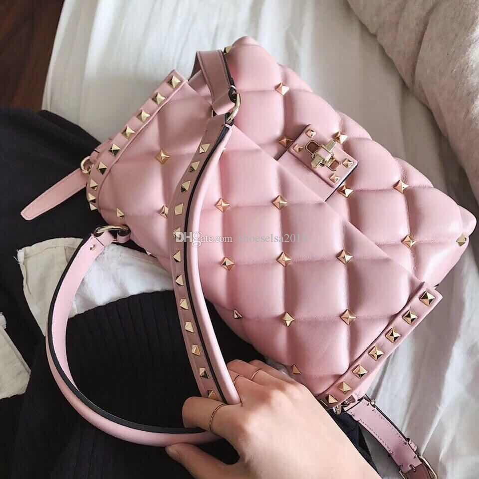 حقيقي حقيبة جلدية الكتف برشام حقيبة محمولة للتصوير حقيبة اللون ستون ShoulderStrap الفضة بورجوندي الوردي سلسلة مفتاح الحب
