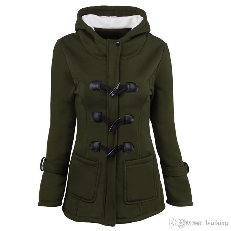 2018 mujeres ocasionales caliente gruesa chaqueta con capucha doble botonadura Horn hebilla add sudaderas con capucha capa de terciopelo de lana parkas acolchados / de la mujer