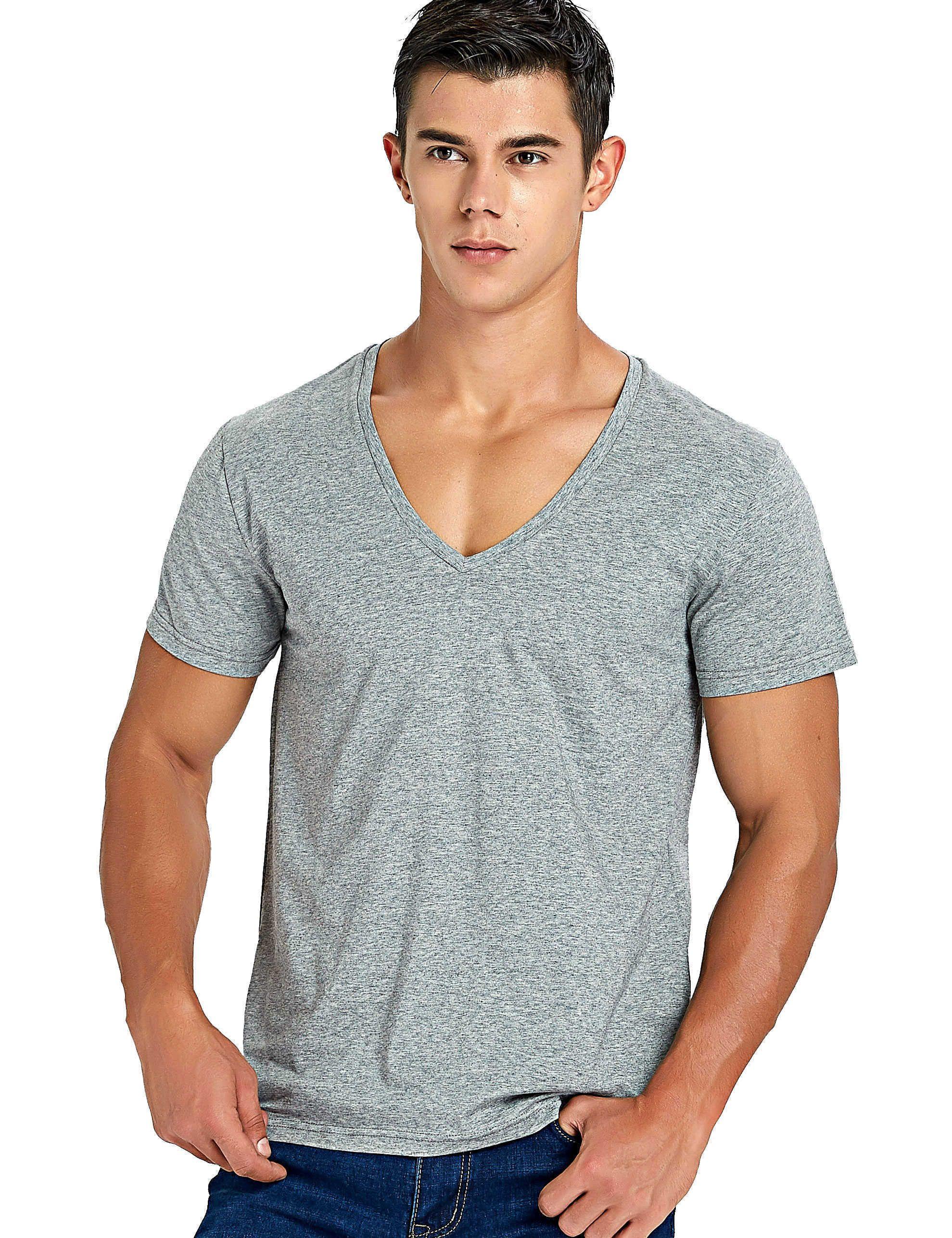 Estiramiento profundo cuello en V camiseta para los hombres de corte bajo Vneck Vee Top Tees Slim Fit manga corta moda masculina camiseta Invisible Undershirt C190420