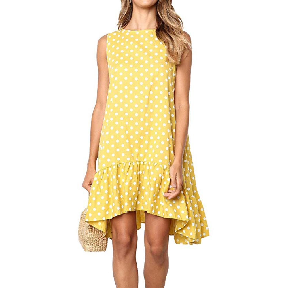 2019 dernières femmes de style vestimentaire printemps et en été des vêtements pour femmes vêtements sans manches en vrac Polka Dot imprimé vague col rond robes jupe courte2