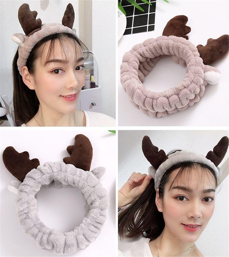 Antlers Women Elastic Facial Wash Face Headband Hairband Makeup Hair Accessories