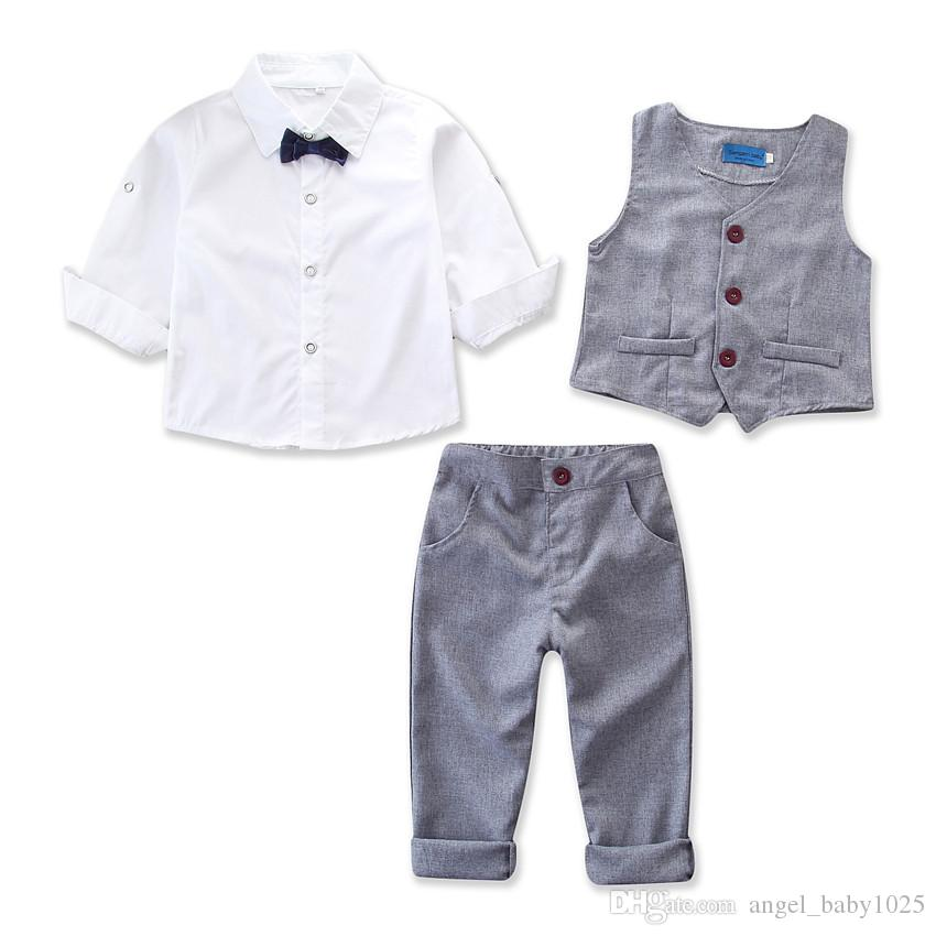 2019 summer new boy solid color gentleman college wind suit white bow tie short-sleeved shirt + vest vest + pants