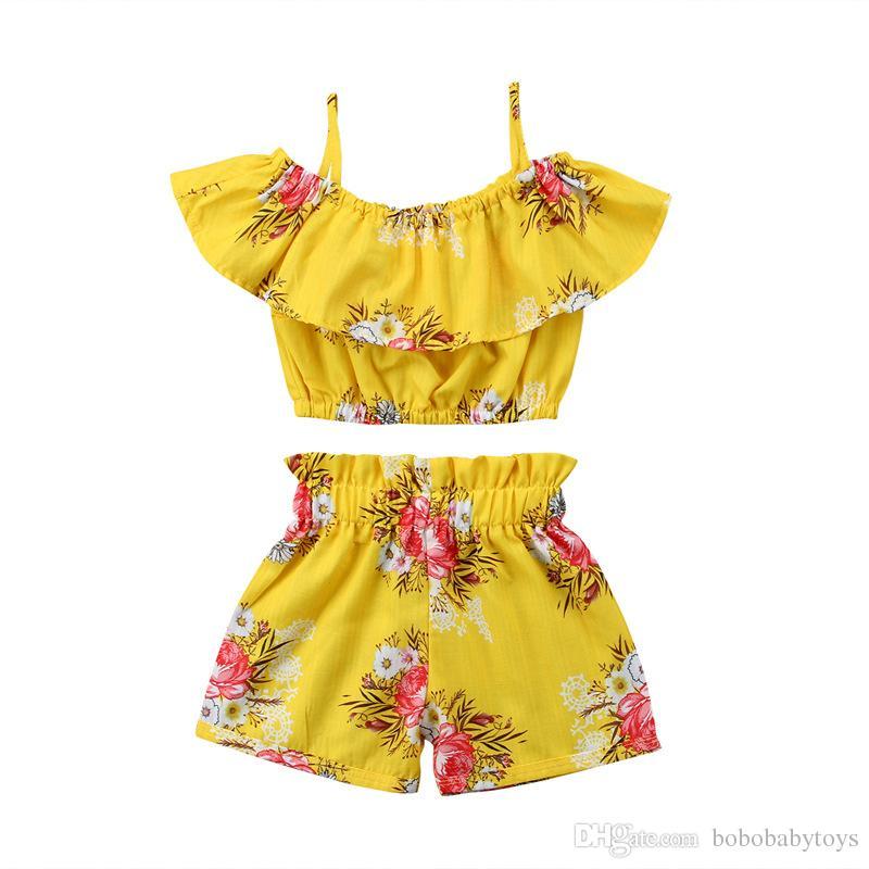 키즈 의류 소녀를위한 꽃 반바지와 오프 숄더 프릴 탑 여름 정장 어린이 노란색 의류 100 % 면화 세트 아기 유아 세트