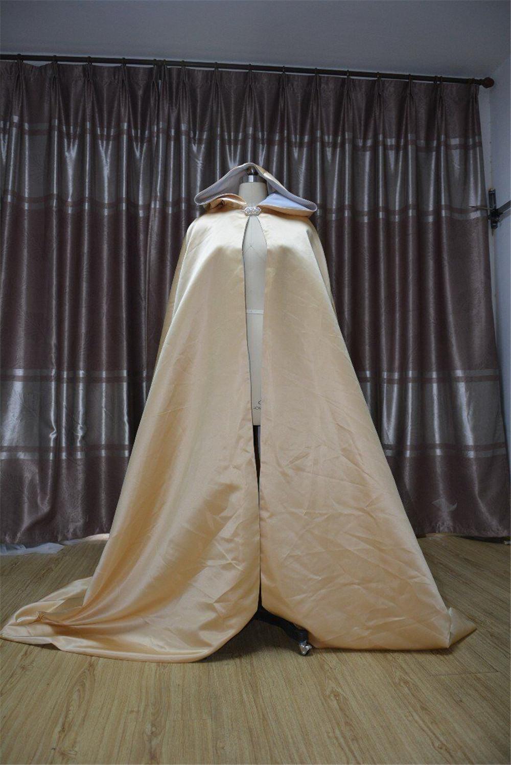 Wedding mantello bridal mantello champagne raso con cappuccio mantello scialle cappotto costume cosplay mantello poncho mantello invernale