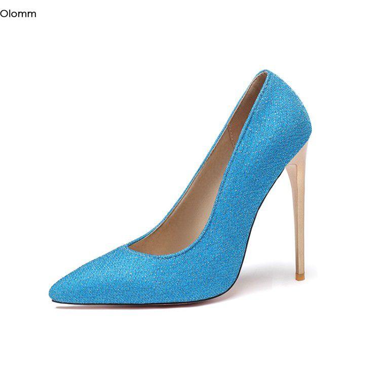 RoniTC hecho a mano de las mujeres del brillo bombas del estilete de los tacones altos bombea el tamaño del dedo del pie en punta 7 colores magníficos zapatos de fiesta Mujeres Plus 5-15 de EE.UU.
