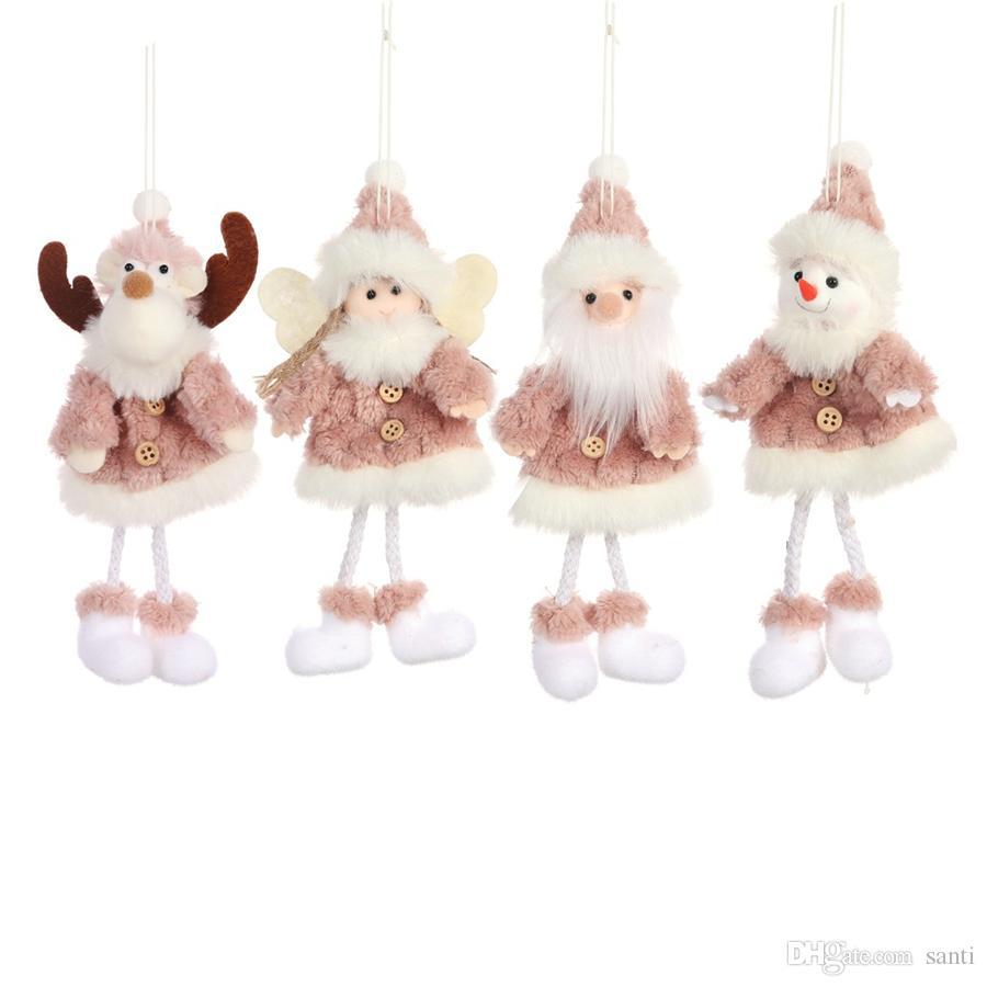 السنة الجديدة عيد الميلاد الشنق قلادة سانتا كلوز شجرة عيد الميلاد الزينة انخيل قطرة الحلي زينة إلك دمية القطيفة JK1910