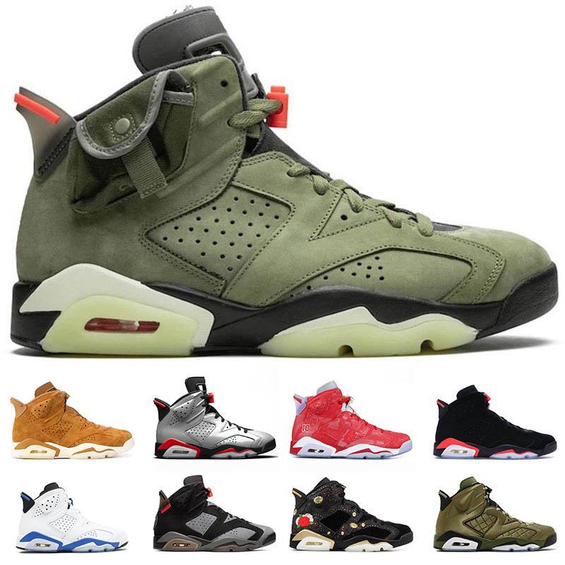 L'alta qualità 6 Travis Scotts 6s Mens scarpe da basket verde Infared Designer Black UNC DMP Gatorate Oreo Sport all'aria aperta della scarpa da tennis degli Stati Uniti 7-13