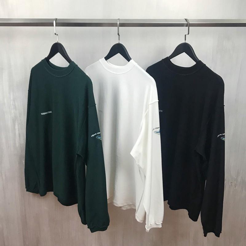 19SS Hip Hop de doble cara desgaste sólido simple sudadera pulóver de cuello redondo suéter de la manera Pares ocasionales Calle Sudaderas Camisetas HFYMWY225