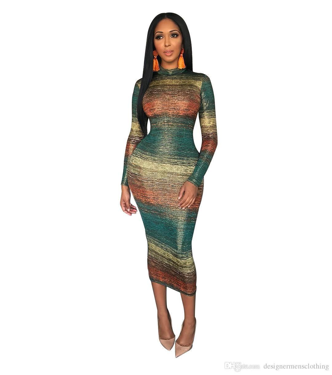Summer Women Dress Casual Designer Gradual Changer la couleur Slim Fit Robe moulante à manches longues Robes Party