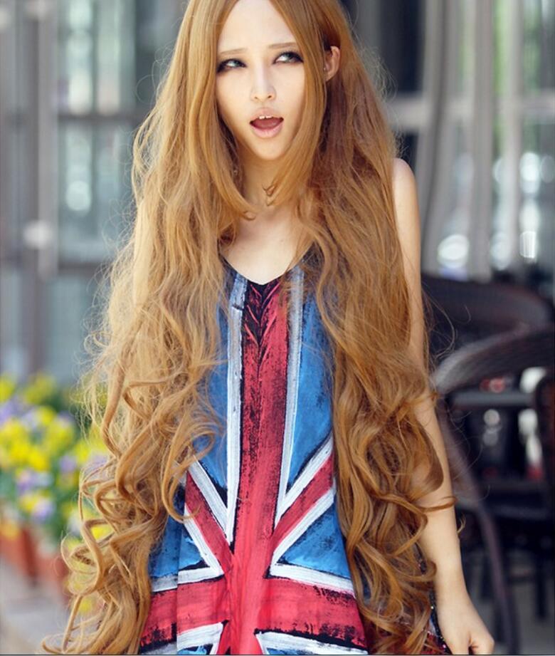 Europäische und amerikanische neue Perücke super lange 100CM goldgelb lange Haare und langen Locken Satz flauschiges