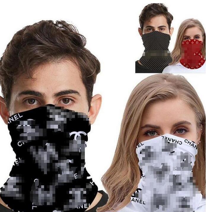 Designer Popular Máscaras Letters Impressão Metade máscara facial ao ar livre Cycling Bandanas Scarf Headband Sports Lenços lavável face Protective