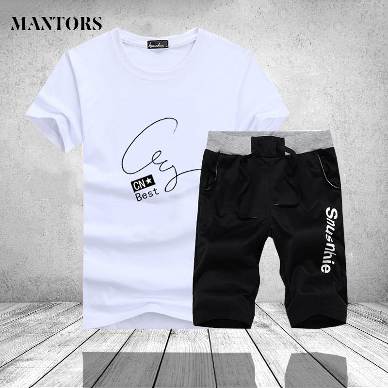 Men Summer Shorts Set Fashion 2019 Male Clothes Casual Tracksuit Brand Two Pieces T Shirt Top Sweatpant Track Suit Plus Size 4XL