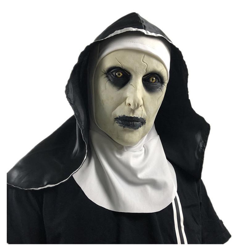 Die Nonne Latexmaske mit Kopftuch Crucifix Terror Gesichtsmasken Furchtsame Cosplay Thriller AntiFaz Para Fiesta Horror Mascara Cross Halloween Maske