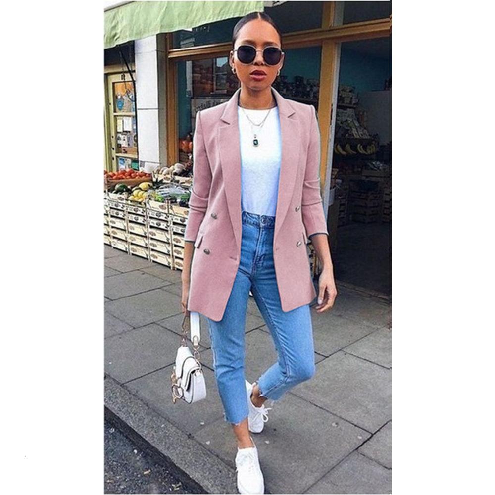 Automne New Femmes Chic Blazer Boutons de bureau de design de mode Lady solide Couleur Manteau manches longues Costume Vêtements d'extérieur Tops Taille Plus S-5XL V191021