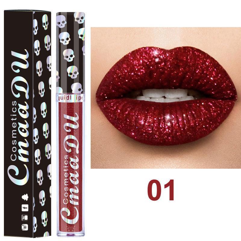 CmaaDu Cosmetics Laser Skull Glitter Flip Lipgloss Metal Lipgloss Shinning Long Lasting Metallic Lipstick 8 colors