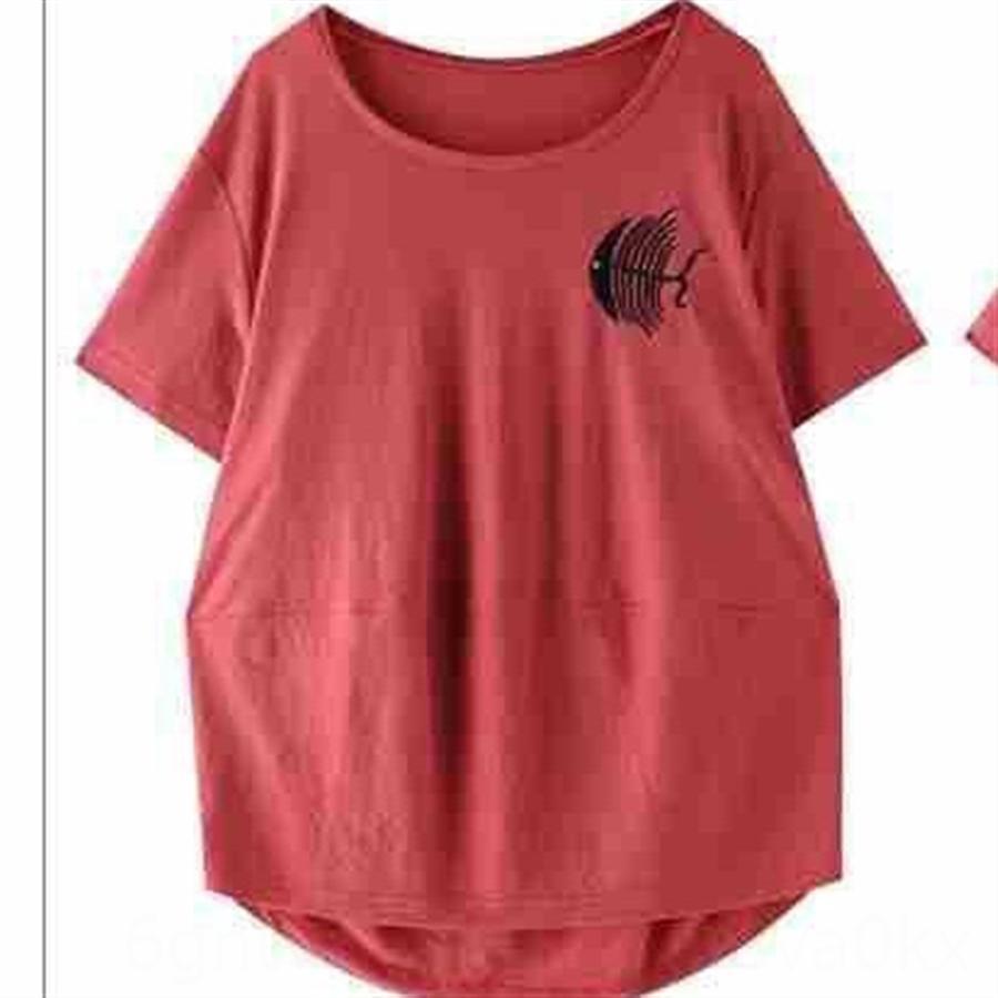большого размер свободного короткий рукав 2020 вышивки большого размера рыхлых женщины короткого рукав футболки вышивка женщины 2020 футболка