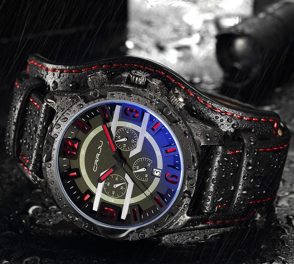 2020 Crrju Homens Six-Pin Cronógrafo Esporte Quartzo Relógios Masculinos de Moda Relógio de Relógio de Relógio Com Couro Strap Militar Clock Erkek Saátu
