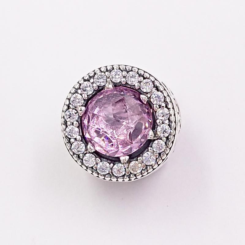 Autentica 925 perline in argento sterling 925 Apprezzamento, Pink Clear CZ Charms Adatto a Bracciali europei Bracciali per gioielli in stile Pandora 796082PCZ
