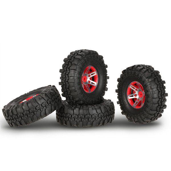 4pcs 1.9inch Pneus beadlock roda Rim 1,9 de borracha Conjunto para 1/10 RC Crawler Axial SCX10 90046 TF2 RC4WD RC Car Parts