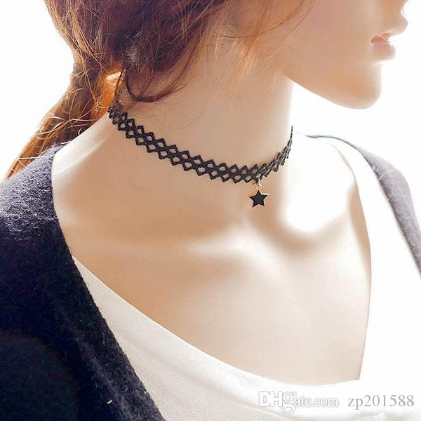Creative Silver Toned Multi-Layer Pentagram Star Choker Necklace Pendant ONE