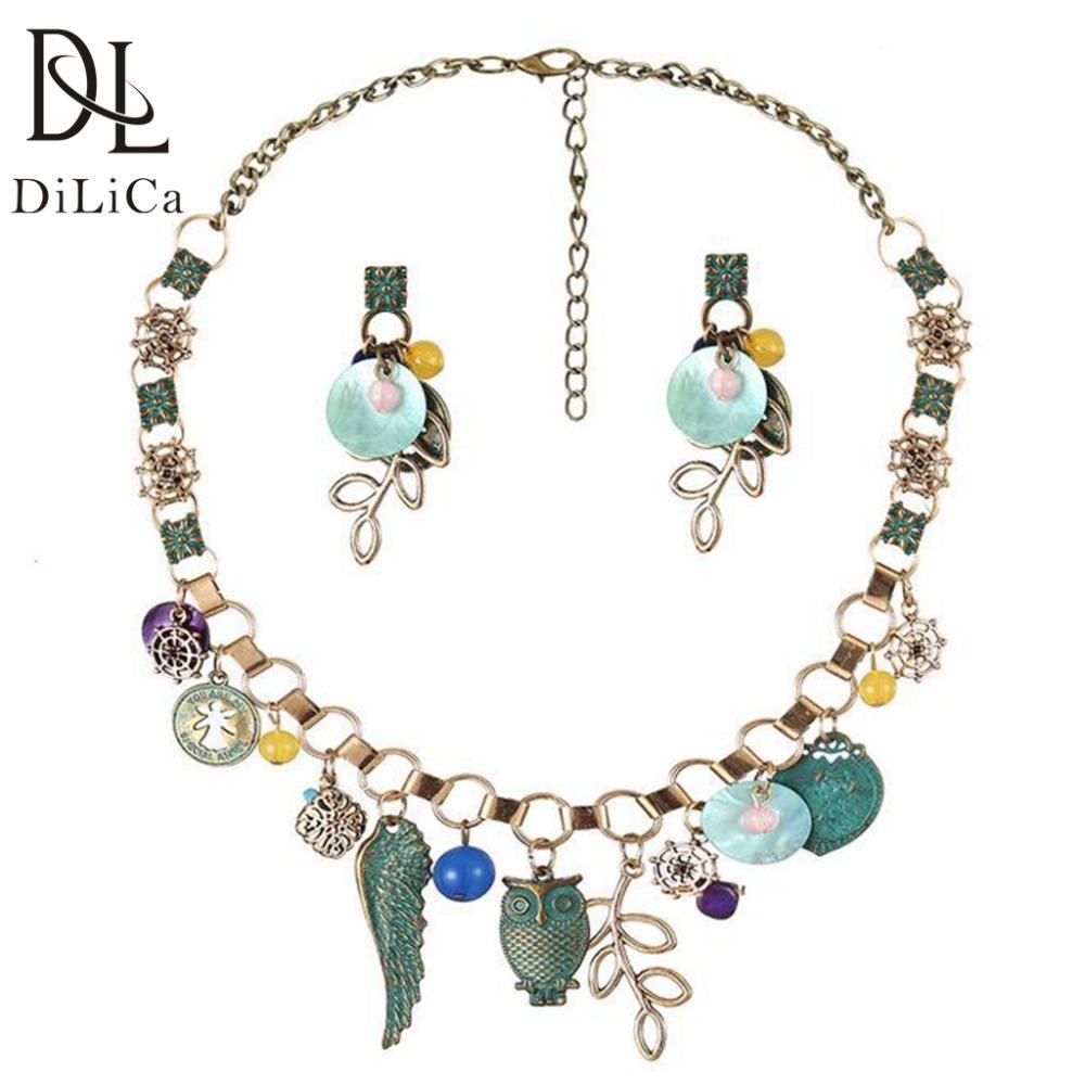 Оптовая Богемский ювелирные наборы для женщин старинные заявление ожерелье ожерелье серьги комплект ювелирных изделий ансамбли de bijoux